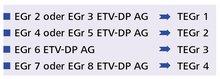 Schema der Überleitung : EGr 2 oder EGr 3 ETV-DP AG => TEGr 1     EGr 4 oder EGr 5 ETV-DP AG => TEGr 2     EGr 6 ETV-DP AG => TEGr 3     EGr 7 oder EGr 8 ETV-DP AG => TEGr 4