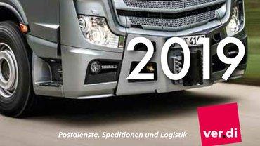 Teil eines Lastwagens, Jahreszahl 2019 und ver.di-Logo
